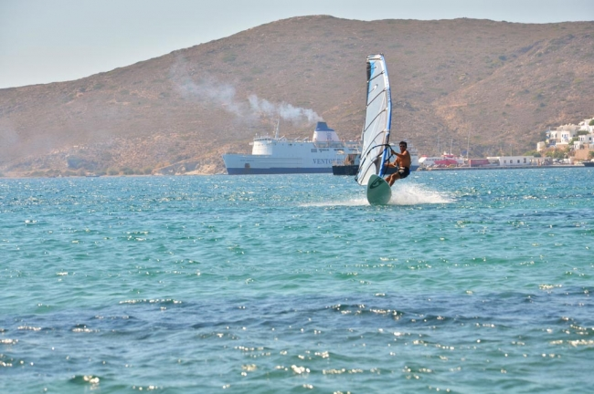 Windsurfing in the port of Milos