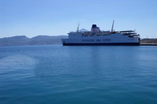 Typical ferry boat at Milos port